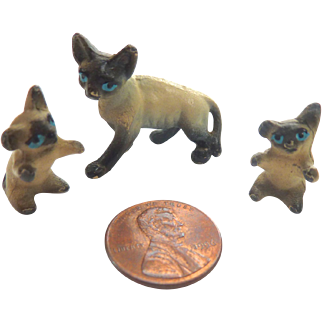 Vintage Set of 3 Dollhouse Miniature GERMAN Metal SIAMESE CATS