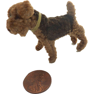 Vintage GERMAN Airedale Terrier CHENILLE  Salon DOG for French Fashion DOLL