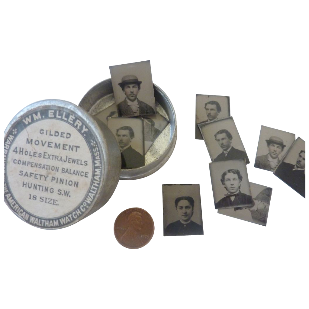 LOT of 12 Mini GEM Civil War Tintype Photos in Waltham Watch Tin