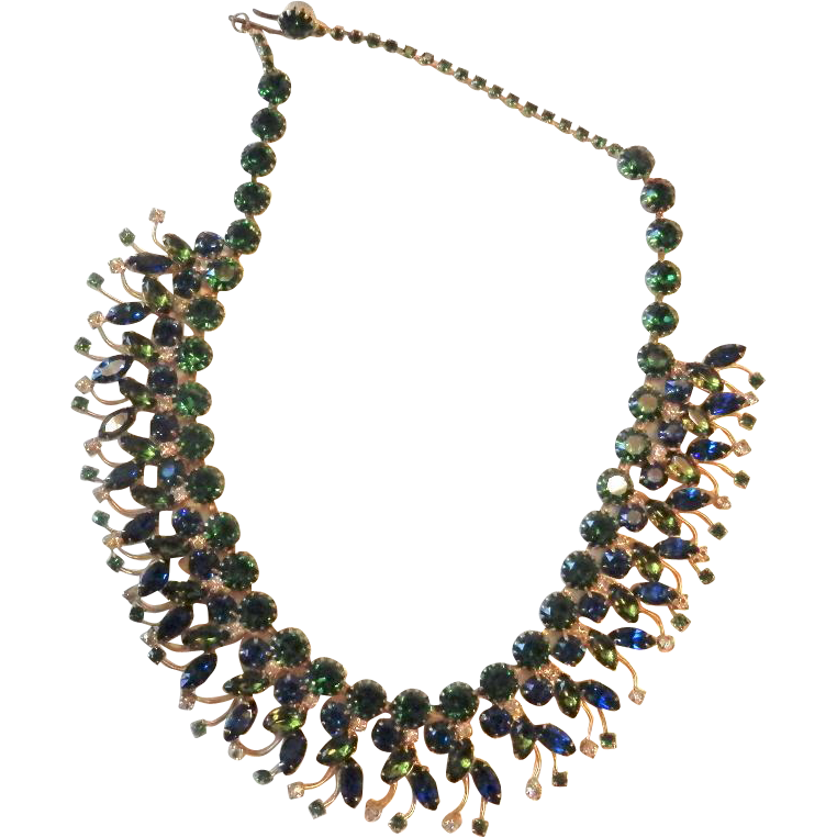 Vintage Hobe Blue Green Rhinestone Necklace