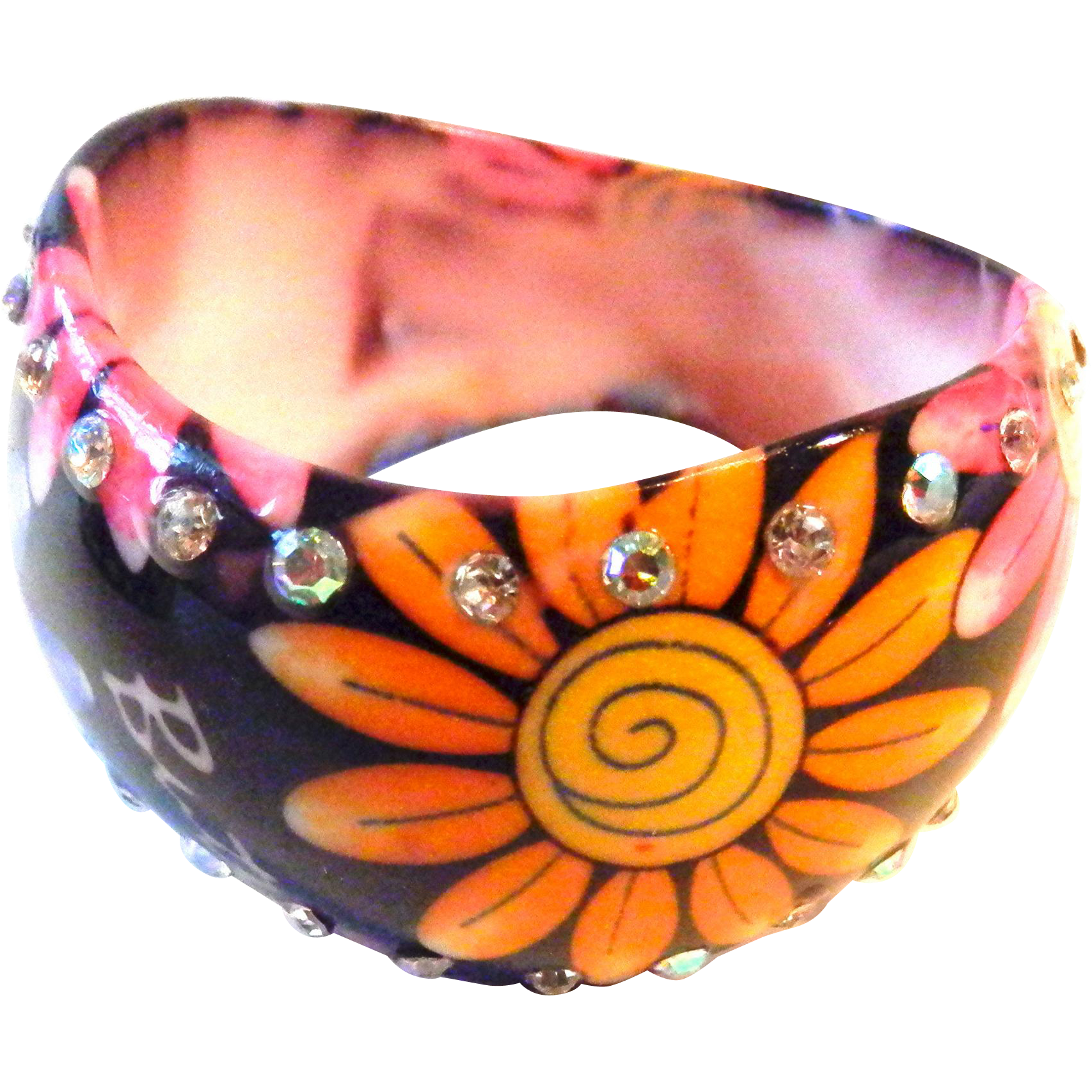 Acrylic Vintage Daisy and Butterfly Bangle