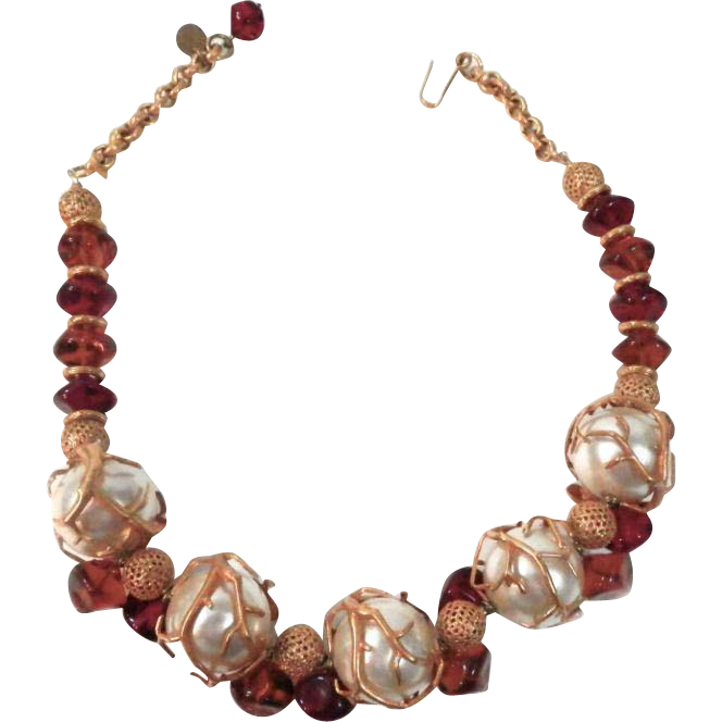 Philippe Ferrandis Handcrafted Faux Pearl and Amber Necklace