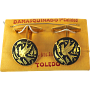Vintage Damascene 24K Inlay Bird in Flight Cufflinks Made in Toledo Spain