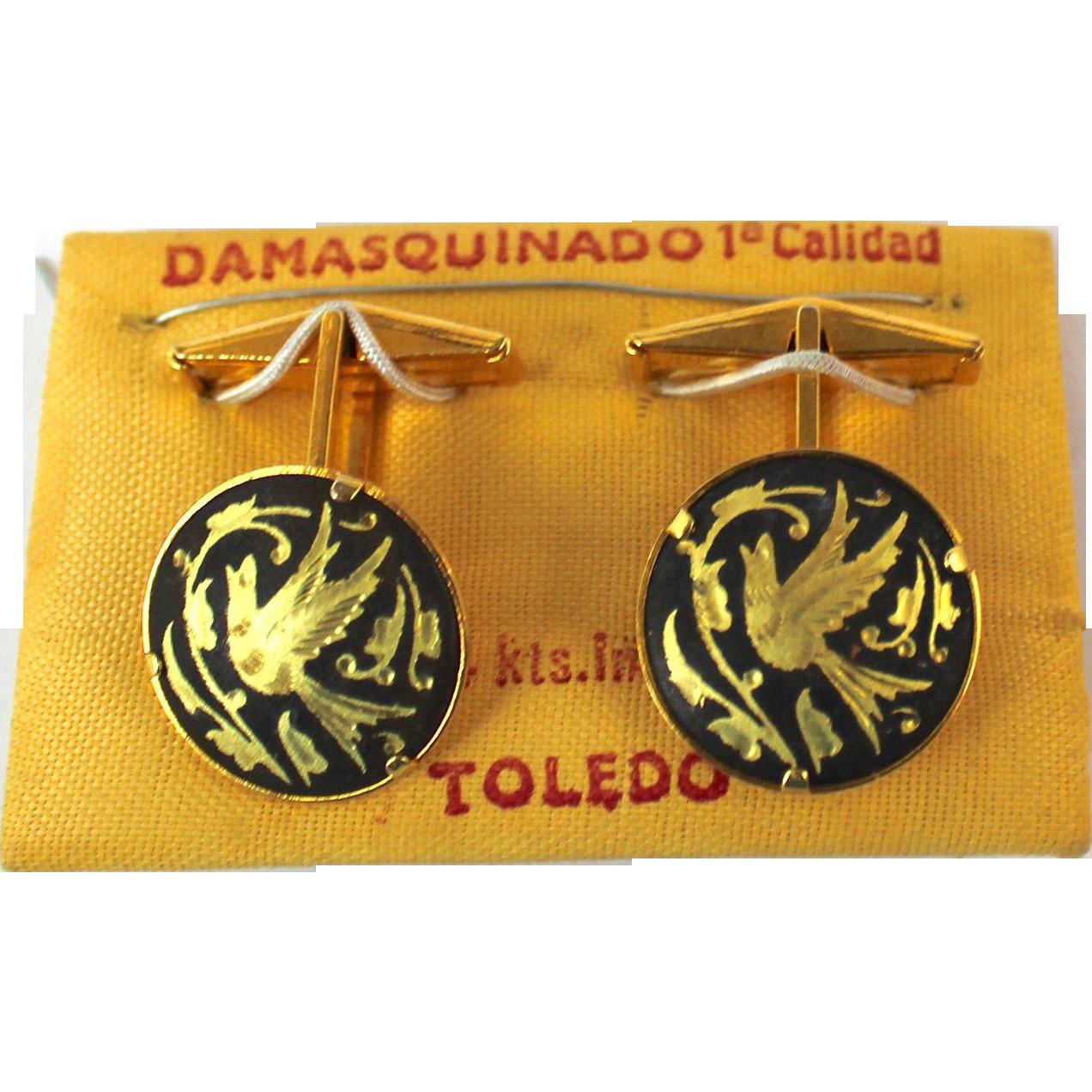 Vintage Damascene 24K Inlay Bird in Flight Cufflinks Made in Toledo Spain