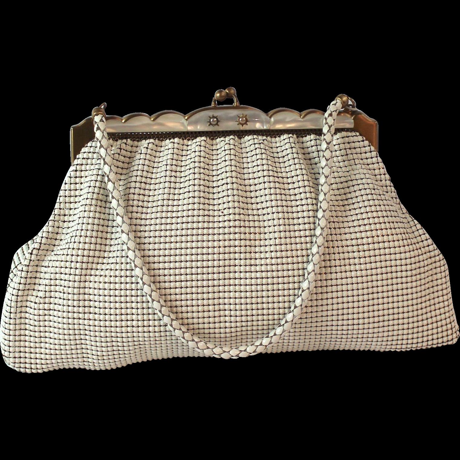 Vintage Whiting and Davis White Mesh Handbag