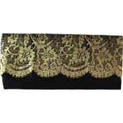 Vintage Avon Black Satin Clutch with Gold Lace Design