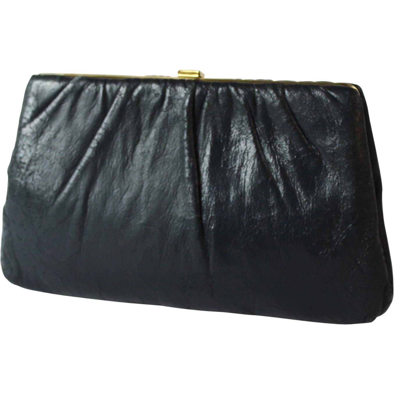 Vintage Harry Levine Navy Leather Clutch
