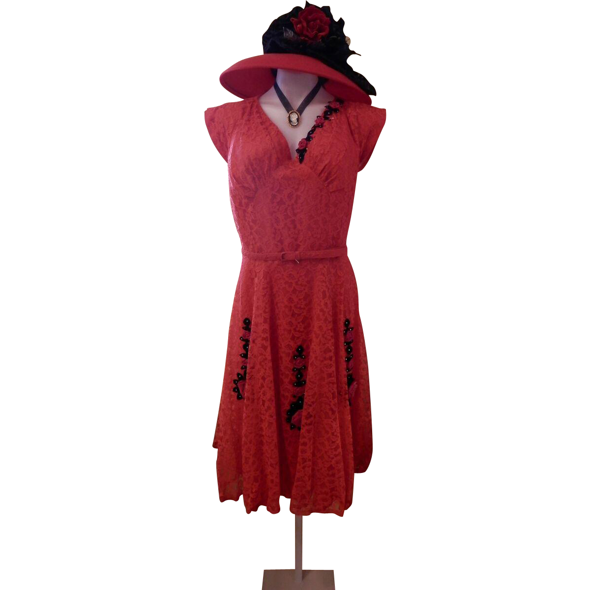 Vintage Handmade Red Lace Dress