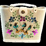Vintage 1970s lLnen and Wood Beaded Handbag