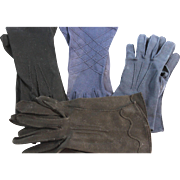 Vintage Black and Blue Cotton Gloves