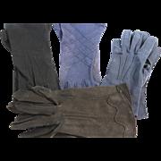 Vintage Black and Blue Cotton Gloves