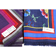 Two Designer Vintage Wool Scarves