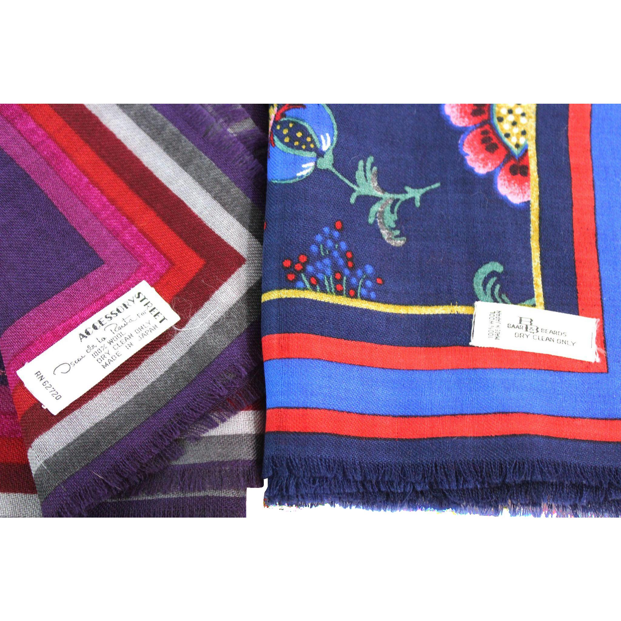 Two Designer Vintage Wool Scarves