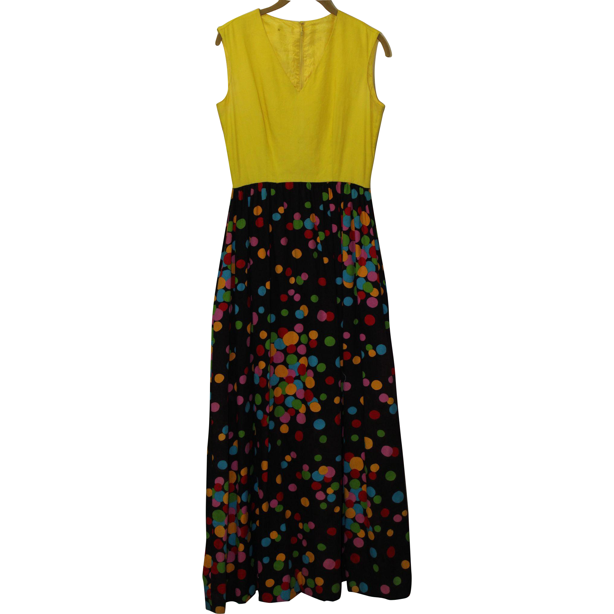 1970's Handmade All Cotton Multi-Colord Maxi Dress with a Polka Dot Motif on Skirt