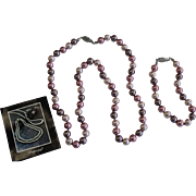 Vinatge Danecraft Pink Simulated Pearl Set, Necklace, Bracelet and Pierced Earrings