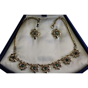 Green Rhinestone Necklace and Clip Earrings, Glamour Jewels by Lustern