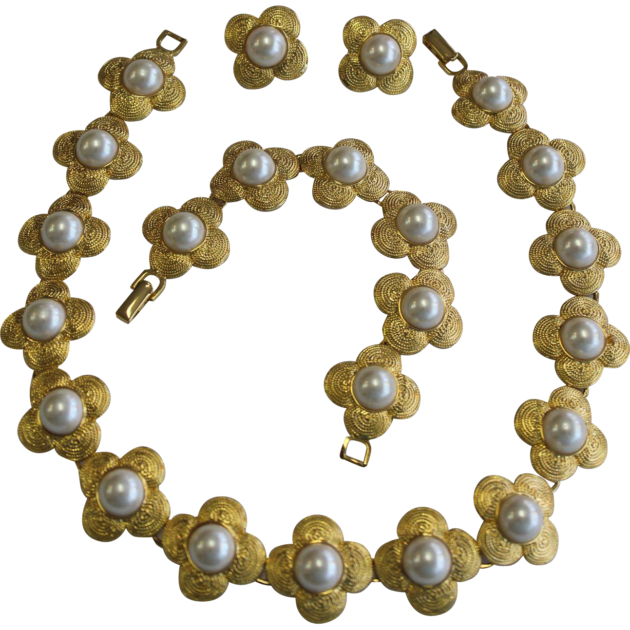 Vintage Gold Tone Faux Pearl Set, Necklace, Bracelet, and Clip Earrings