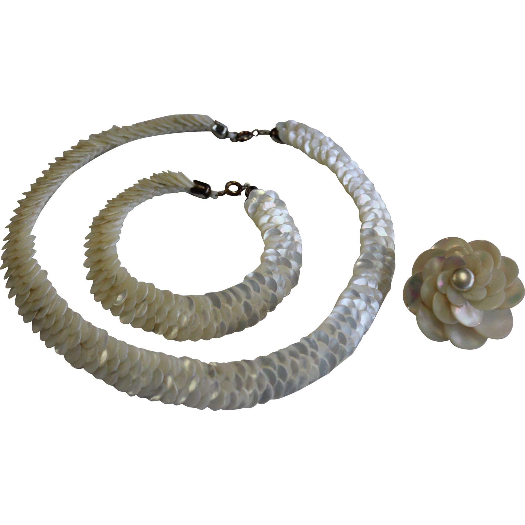 Vintage Mother of Pearl Necklace, Bracelet and Pin Set Made in France