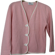 Vintage Pink 3 Button Cashmere Cardigan Sweater by Dalton