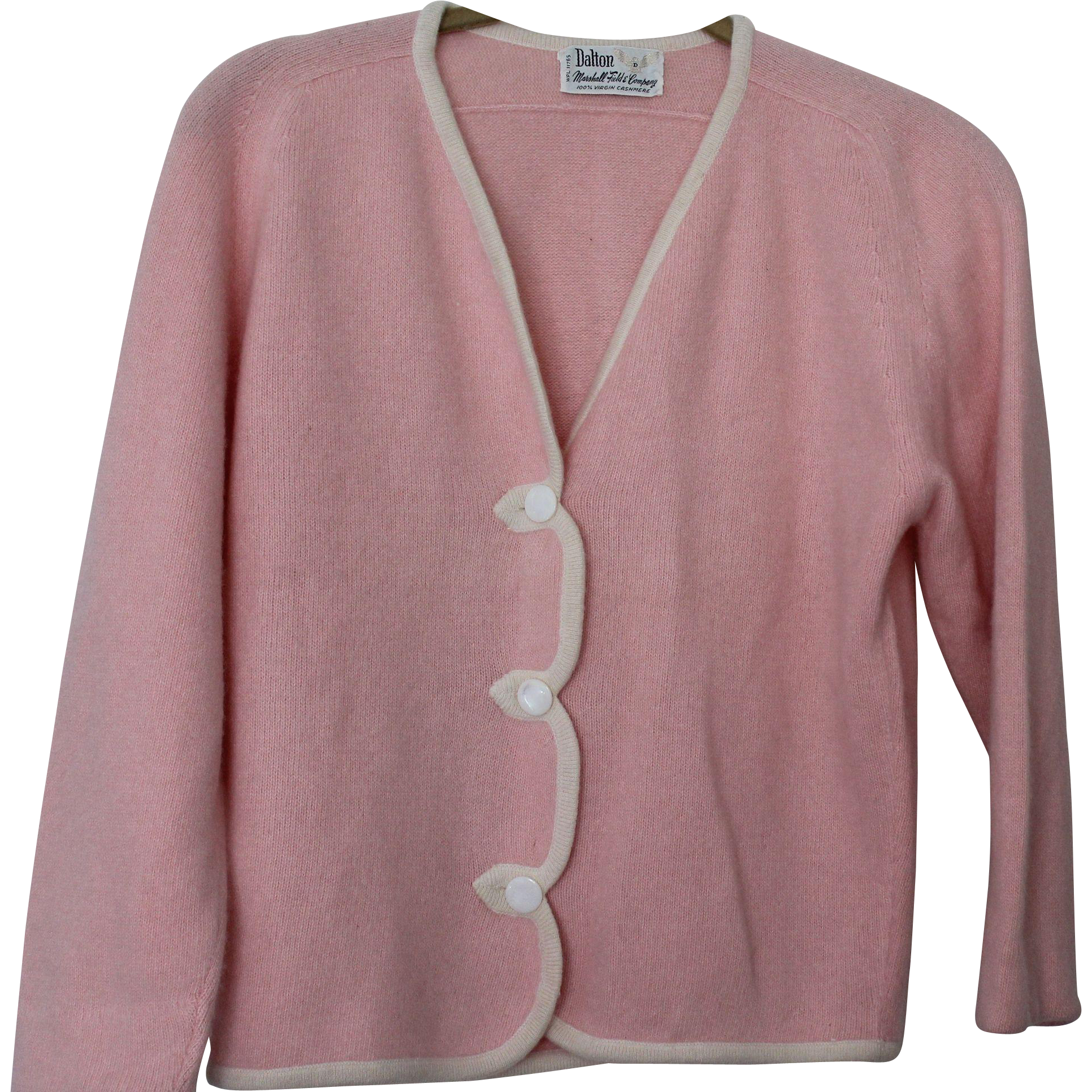 Vintage Pink 3 Button Cashmere Cardigan Sweater by Dalton