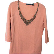 Vintage 1960's Peach Beaded V Neck Pullover Sweater by Dana Buchman