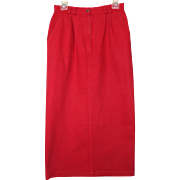 "1980s Red Denim Maxi Skirt  Labeled ""On the Verge"""