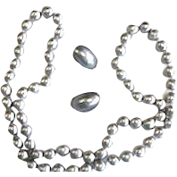 "Vintage Les Bernard Faux Silver Pearl 34"" Necklace and Clip Earrings"