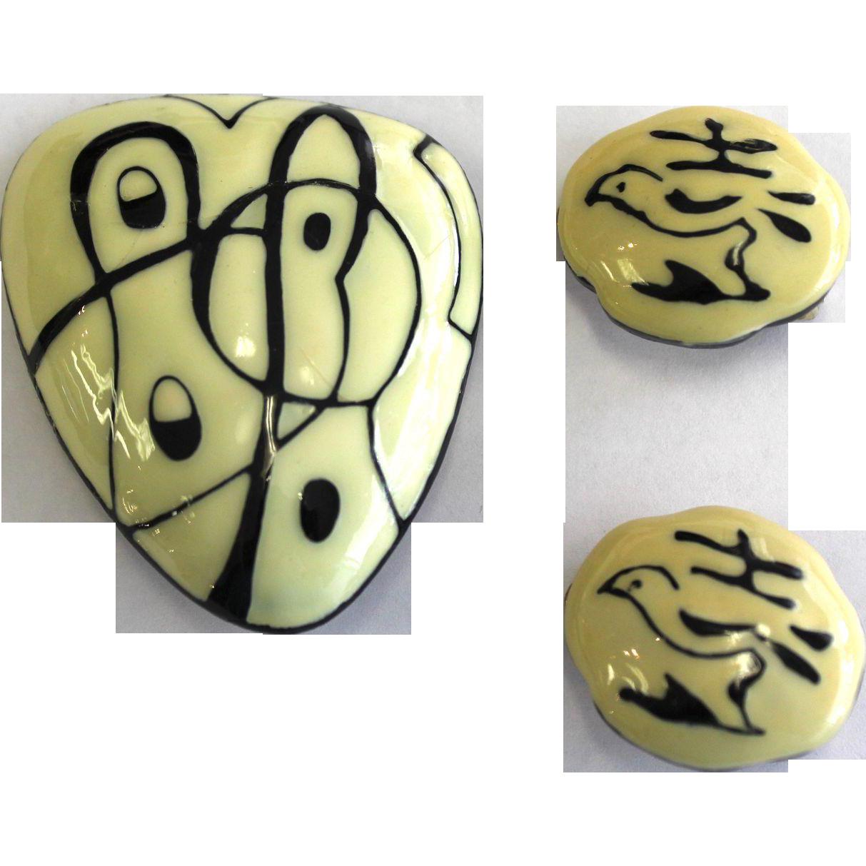 Vintage Artist Series Eisenberg Enamel Pin and Clip Earring Set