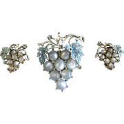 Vintage 1960s Blue Grape Cluster Pin and ClipEarring Set