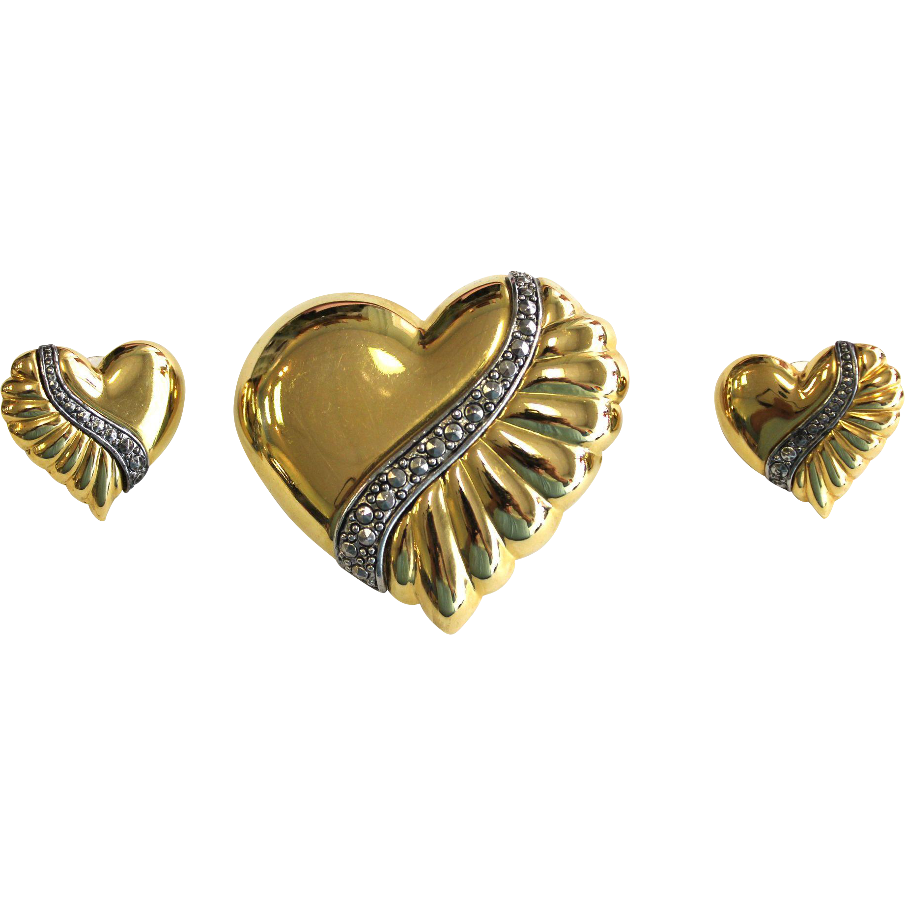 Vintage Gold Tone Heart pin and Pierced Earrings with Marcasite Bands
