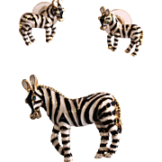 Vintage Enamel Zebra Pin and Matching Pierced Earring Set