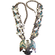 Vintage Native American Made Eagle Necklace by J. Nezzie