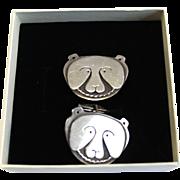 Vintage Sterling Silver Polar Bear Face Cufflinks