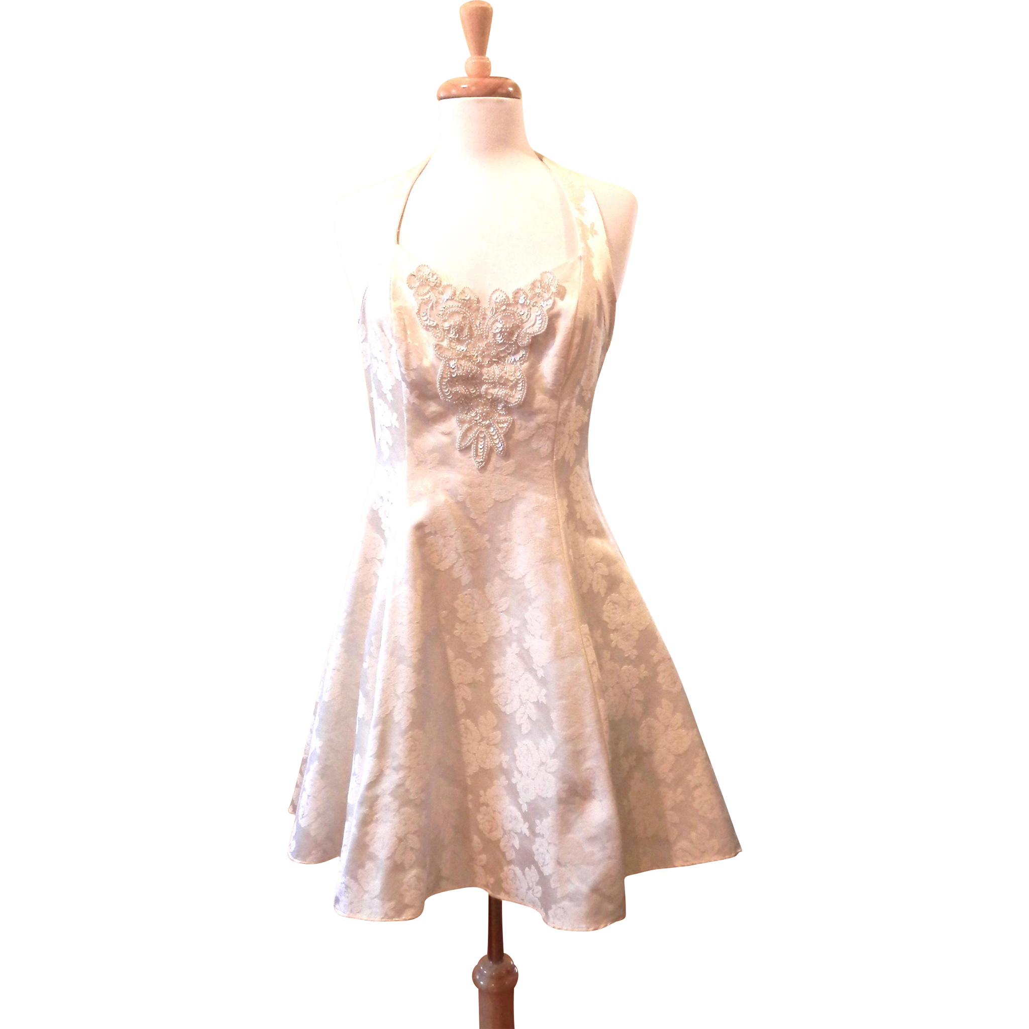 Vintage White Brocade Halter Dress with Beadwork Front