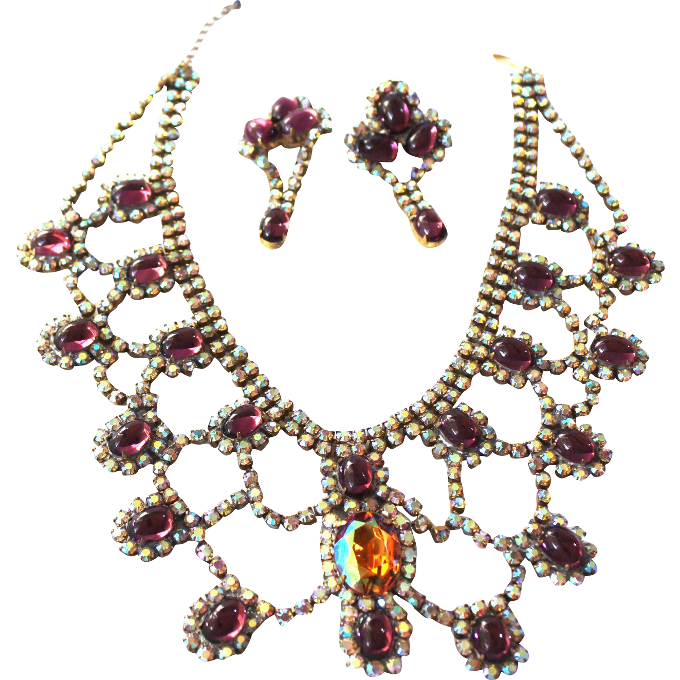 Vintage Czechoslovakia Necklace and Clip Earrings
