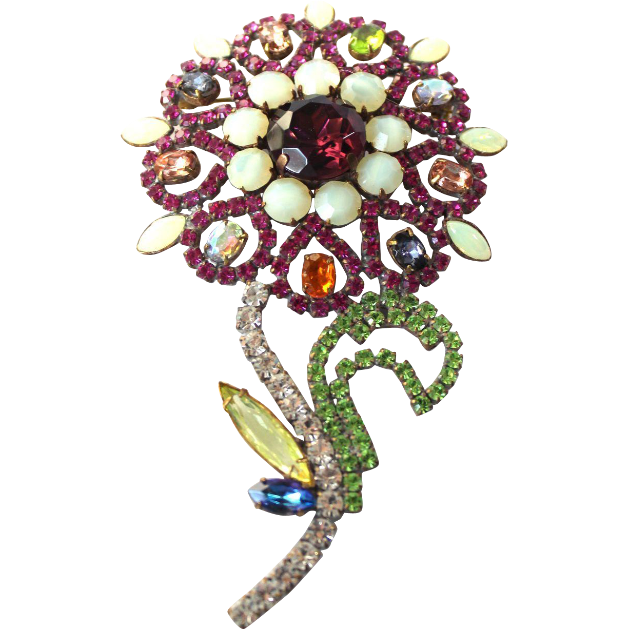 Vintage Multicollored Rhinestone Flower Pin, in the Czech Style