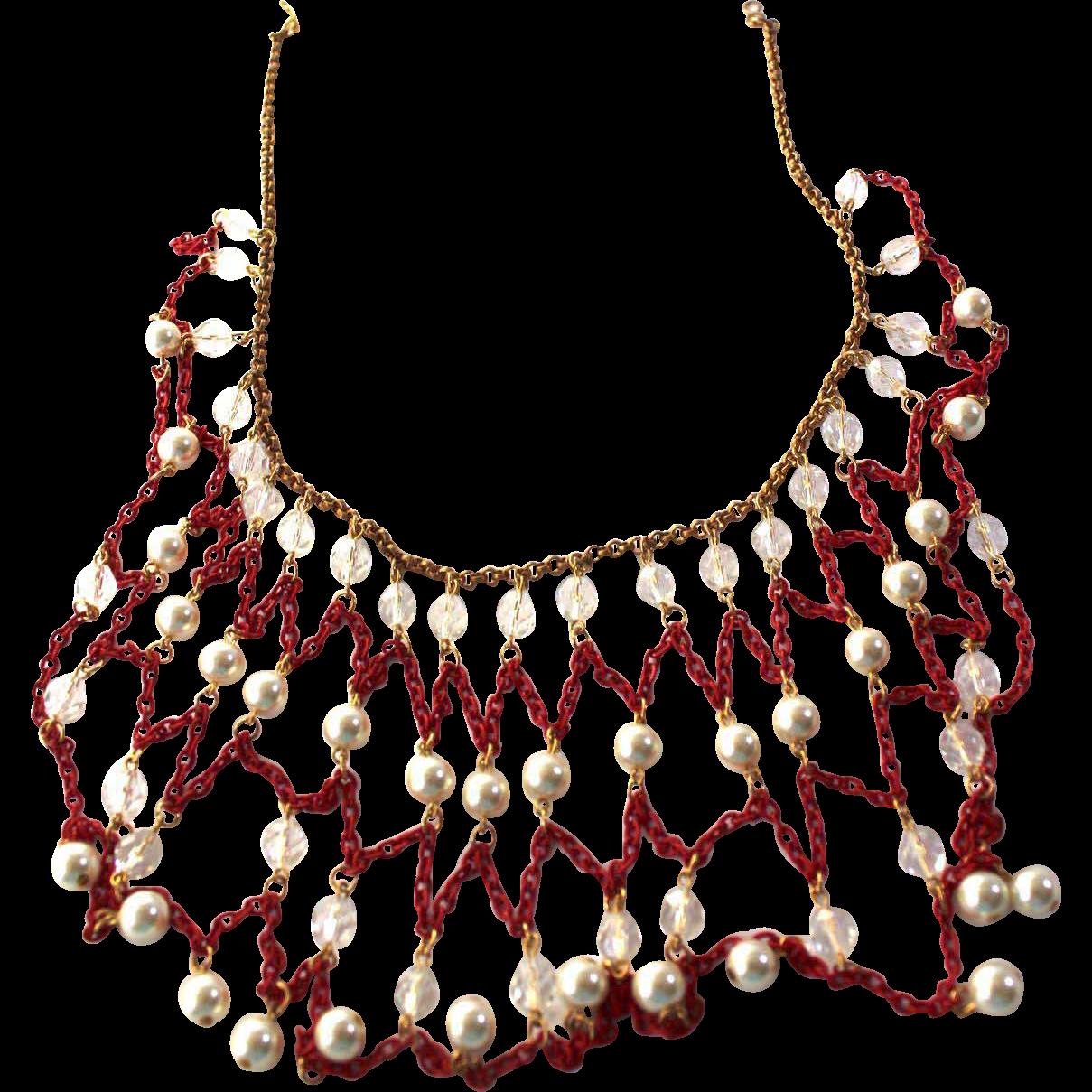 Vintage Cristy Lee Red and Gold Bib Necklace