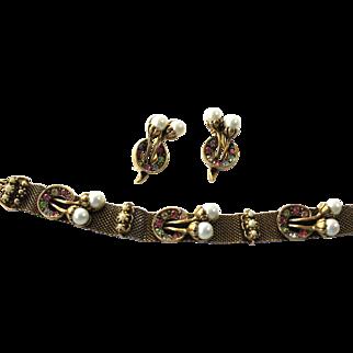 Vintage Mesh Rhinestone, Faux Pearl Bracelet and Matching Clip Earrings by Judy-Lee