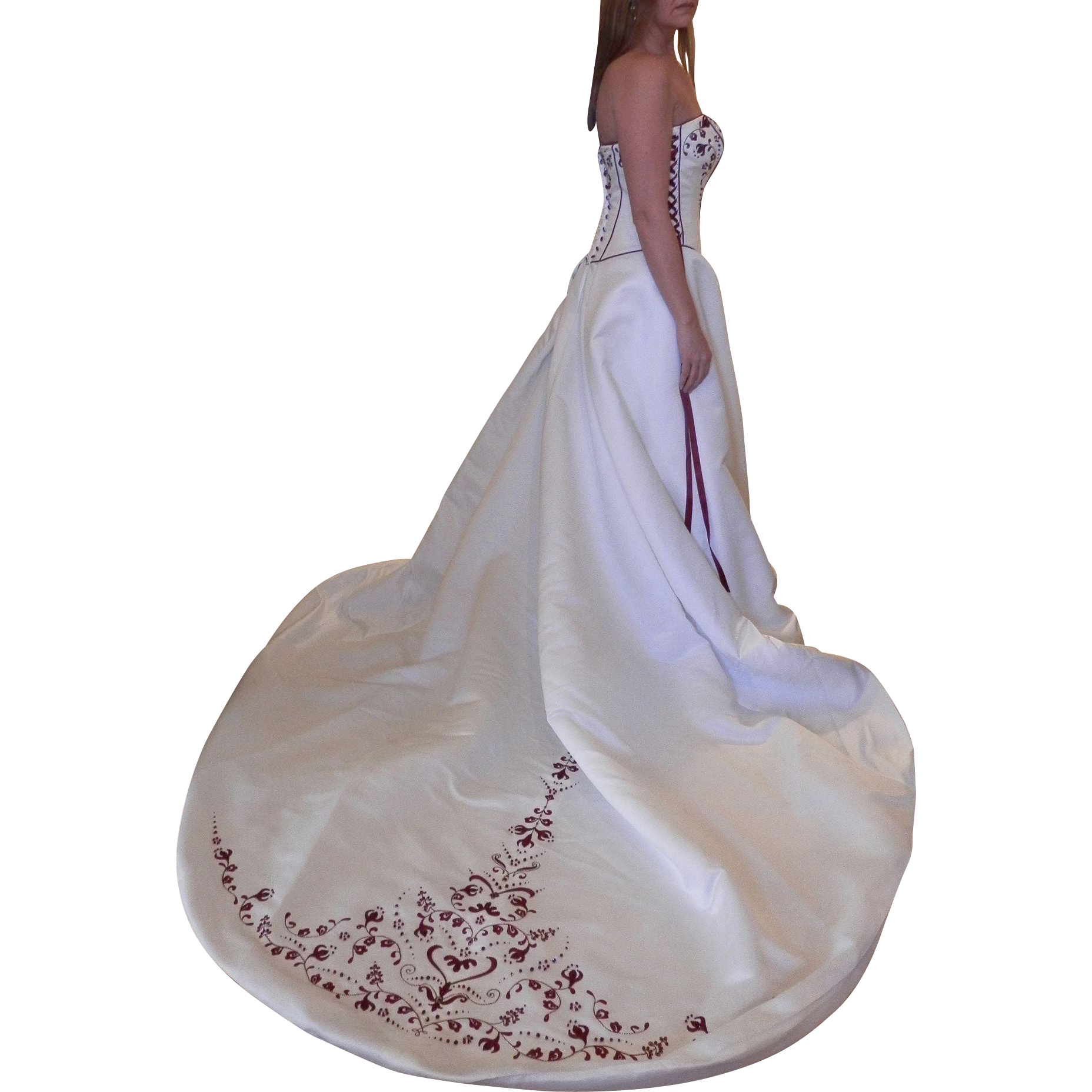 1980's Strapless Winter Wedding Gown with Garnet Red Beading and Lacings
