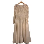 Vintage 1970's Beige Long Sleeve Lace Tea Length Wedding Dress