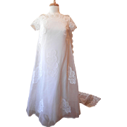 Vinatge 1970's Baby Doll Ivory Netting and Lace over Taffeta Wedding Dress