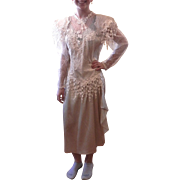 Vintage Special Occasion Beige Lace Dress