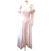 Vintage 1970's Long Sleeve Lace Bodice Wedding Dress