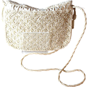 Vinatge Ivory Beaded Bridal Shoulder Bag