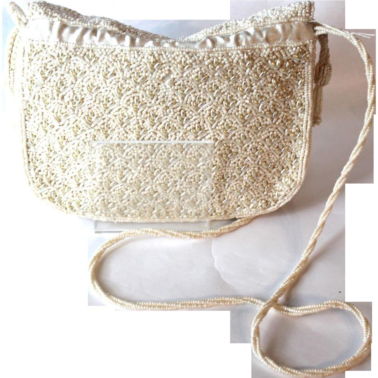 Vinatge Ivory Beaded Bridal Shoulder Bag
