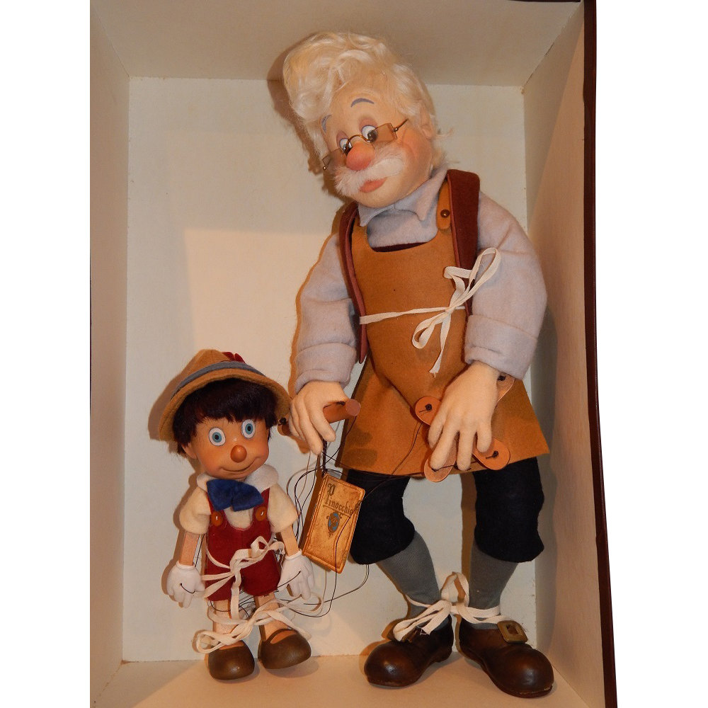 "R. John Wright ""Geppetto and Pinocchio Felt"" Dolls"