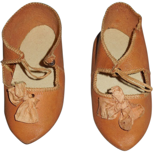 "French Antique Bebe Doll Shoes ""Marked"""