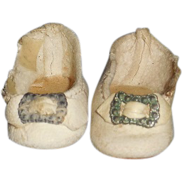 Antique German Teeny White Leather Shoes