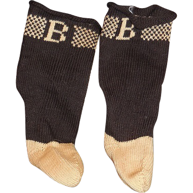 "Black and Ecru Marked ""B"" Antique Doll Socks"