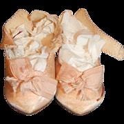 Antique Pink Silk Jumeau Doll Shoes